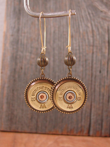 20 Gauge Shotshell Brass Kidney Wire Bullet Earrings