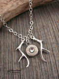 Bullet Jewelry - Antler Necklace - Double Antler Flanked Bullet Necklace