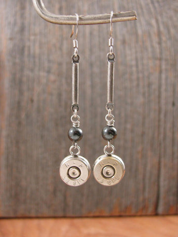 Bead and Bar Modern Bullet Earrings