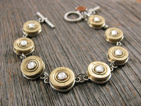 Bullet Bracelet - Shotshell Diamond Toggle Bracelet - Satin Finish 410 Gauge