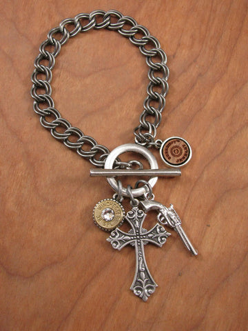 """God and a Gun"" Silver Charm Bracelet"