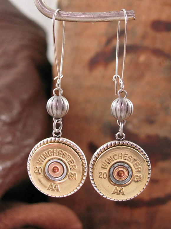 20 Gauge Shotshell Silver Kidney Wire Bullet Earrings-SureShot Jewelry