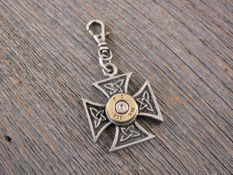 Zipper Pull - Maltese Cross Rifle Casing Zipper Pull - Biker Jewelry