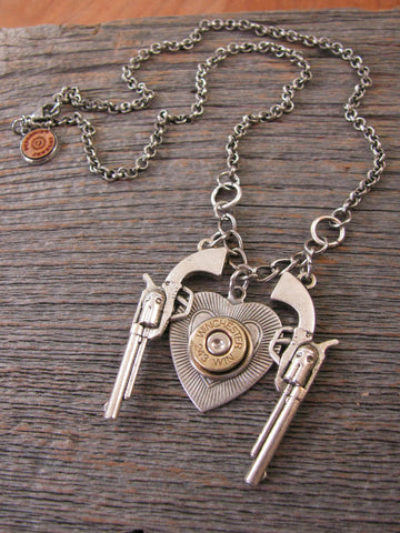 Double Pistol & Heart Bullet Casing Necklace