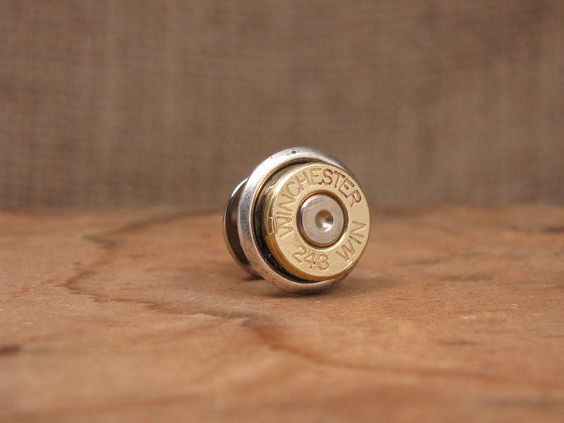 243 Brass Bullet Casing Tie Tack / Lapel Pin / Hat Pin