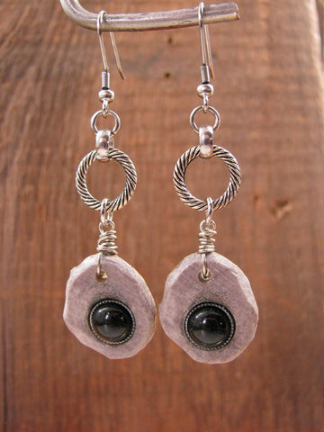 Deer Antler Slice w/Black Onyx Cabachon Silver Dangle Earrings