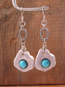 Deer Antler Slice w/Turquoise Cabachon Silver Dangle Earrings-SureShot Jewelry