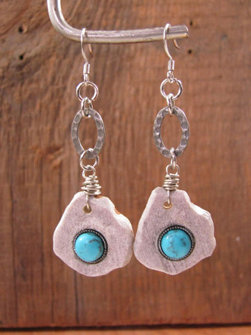 Deer Antler Slice w/Turquoise Cabachon Silver Dangle Earrings