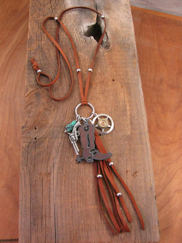 Long Boho Style Rusty Boot Western Cowgirl Leather Bullet Charm Necklace