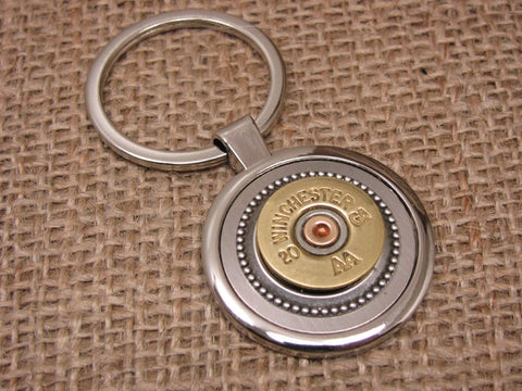 20 Gauge Shotshell Round Silver Key Ring