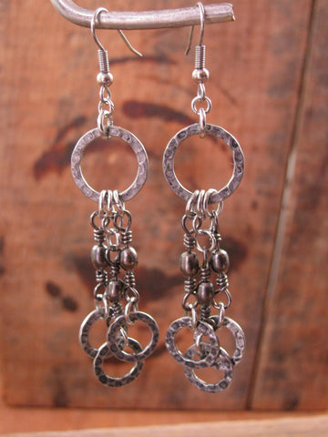 Fishing Themed Dangle Earrings - Gunmetal Barrel Swivel Chandelier Style Earrings