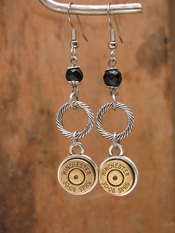 30-06 Rifle Casing Dangle Earrings w/Black Onyx Beadwork
