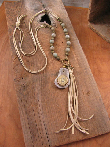 12 Gauge Deer Antler Slice Aqua Terra Beaded Buff Deerskin Tunic Length Tassel Necklace