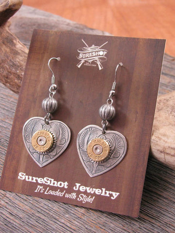 Shot Thru the Heart Bullet Casing Dangle Earrings