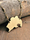 Laser Cut Wood Gold Finished Big Mouth Bass / Fishing Necklace-SureShot Jewelry