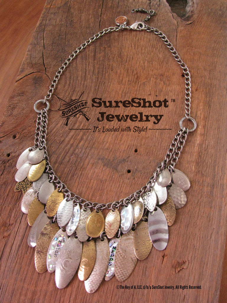 Vintage Spinner Lure Fishing Themed Gold/Silver Statement Necklace-SureShot Jewelry