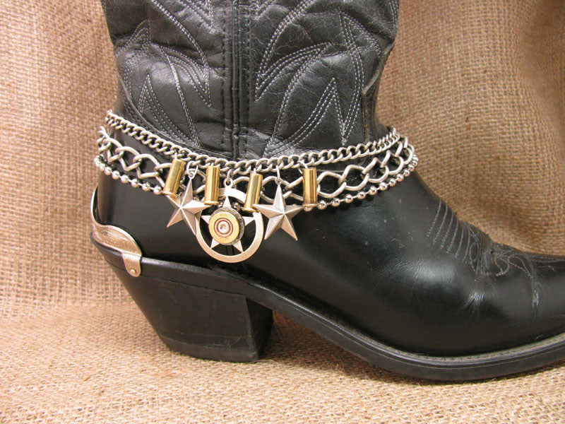 410 Gauge Shotgun Casing Lone Star Pendant Multi-Chain Boot Bracelet