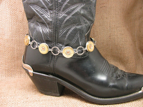 20 Gauge Shotgun Casing Hammered Ring Silver Boot Bracelet