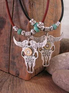 Cattle Skull / Longhorn Steer Leather Cord Turquoise Bullet Necklace-SureShot Jewelry
