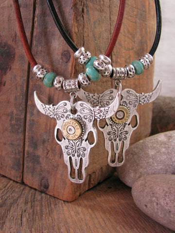 Cattle Skull / Longhorn Steer Leather Cord Turquoise Bullet Necklace