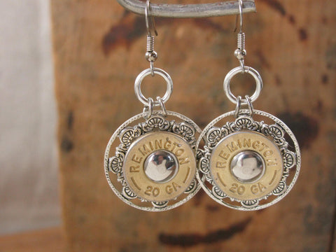 Detailed Round 20 Gauge Riveted Earrings