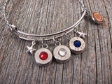 Patriotic Red White & Wire Bangle Bullet Bracelet-SureShot Jewelry