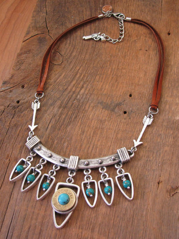 Southwest - Boho - Arrowhead Bib Style Turquoise & Shotshell Statement Necklace