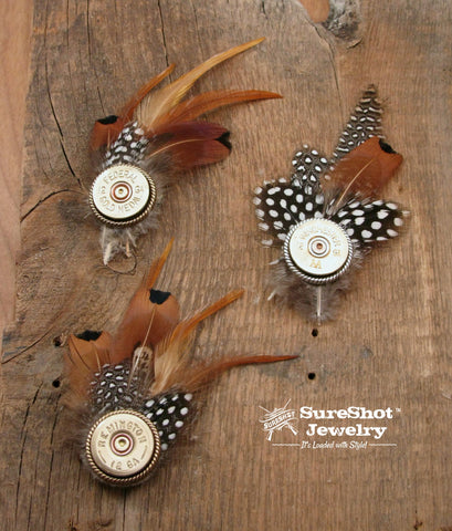 12 Gauge Shotshell Feather Hat Pins
