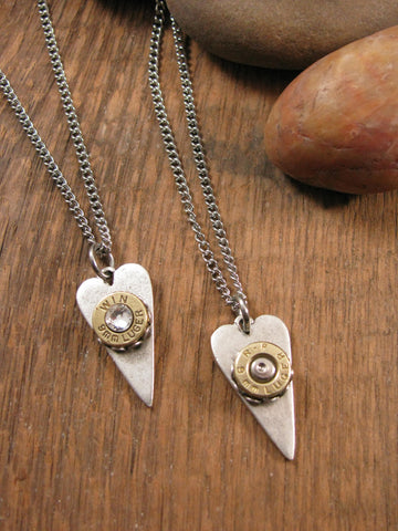 Elongated Heart 9mm Bullet Necklace