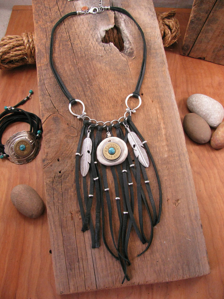 12 Gauge Feather & Antler Slice Boho Shotshell Black Fringe Necklace
