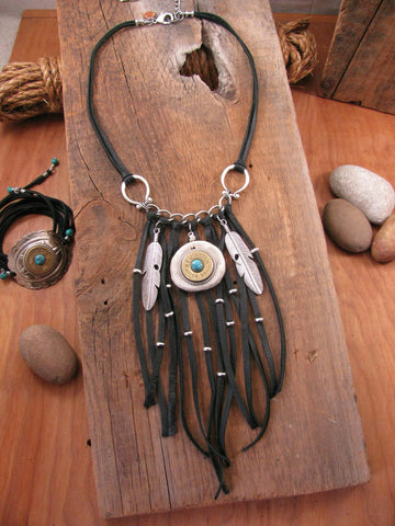 12 Gauge Feather & Antler Slice Boho Black Fringe Shotshell Necklace