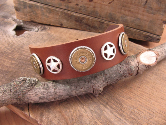 12 Gauge Star Concho Leather Cuff Bullet Bracelet-SureShot Jewelry