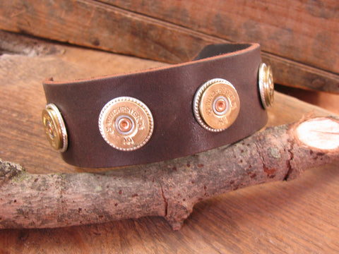 20 Gauge 4-Shell Shotgun Casing Silver Leather Cuff Bracelet