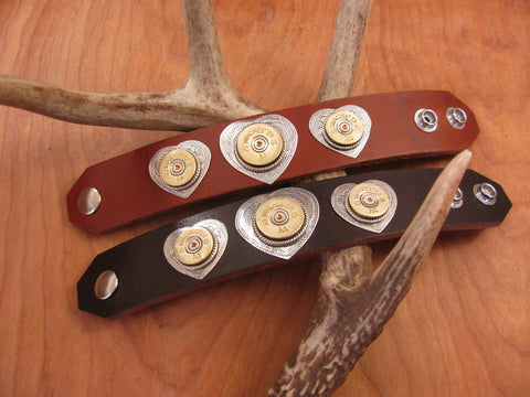 Triple Heart Shotshell Leather Cuff Bullet Bracelet