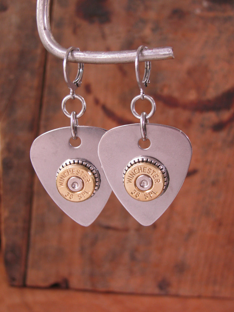Stainless Steel Guitar Pick Bullet Earrings