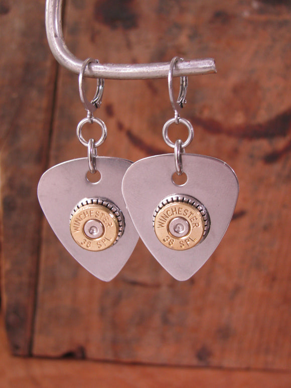 Stainless Steel Guitar Pick Bullet Earrings-SureShot Jewelry
