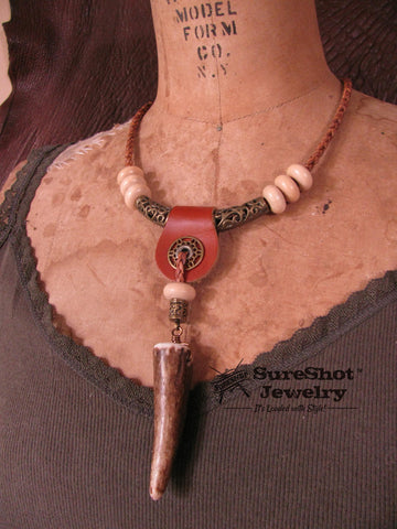 Tribal Look Deer Antler Leather Cord Necklace
