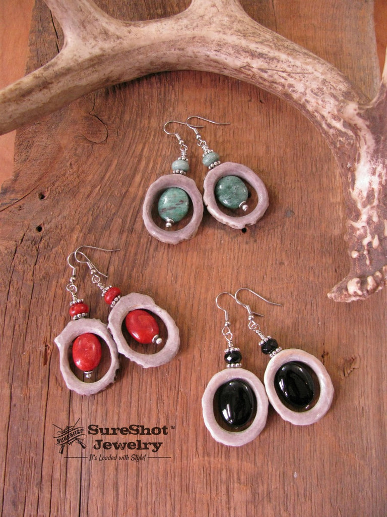 Antler Hoop Beaded Dangle Earrings - Three Colors to Choose From