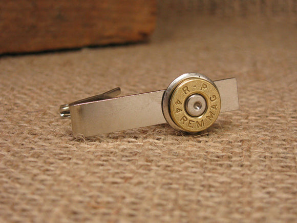 Brass 44 Magnum Bullet Casing Silver Tie Bar/Tie Clip-SureShot Jewelry