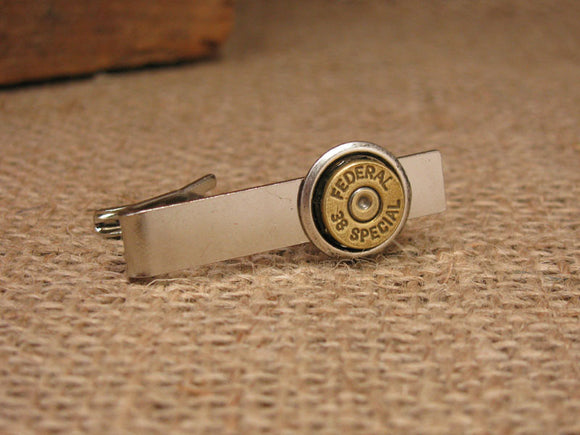 38/357/40/9mm Brass Bullet Silver Tie Bar/Tie Clip-SureShot Jewelry