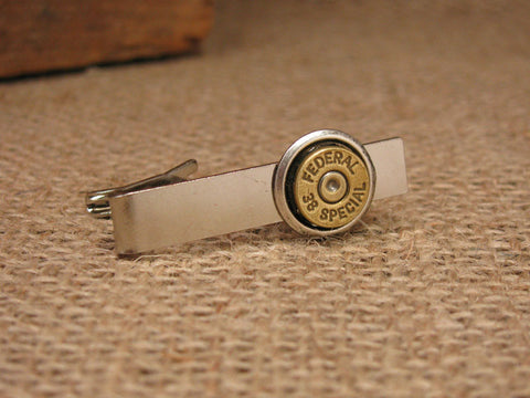 38/357/40/9mm Brass Bullet Silver Tie Bar/Tie Clip