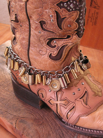 Loaded Shotgun & Bullet Casing Mixed Metal Boot Bracelet