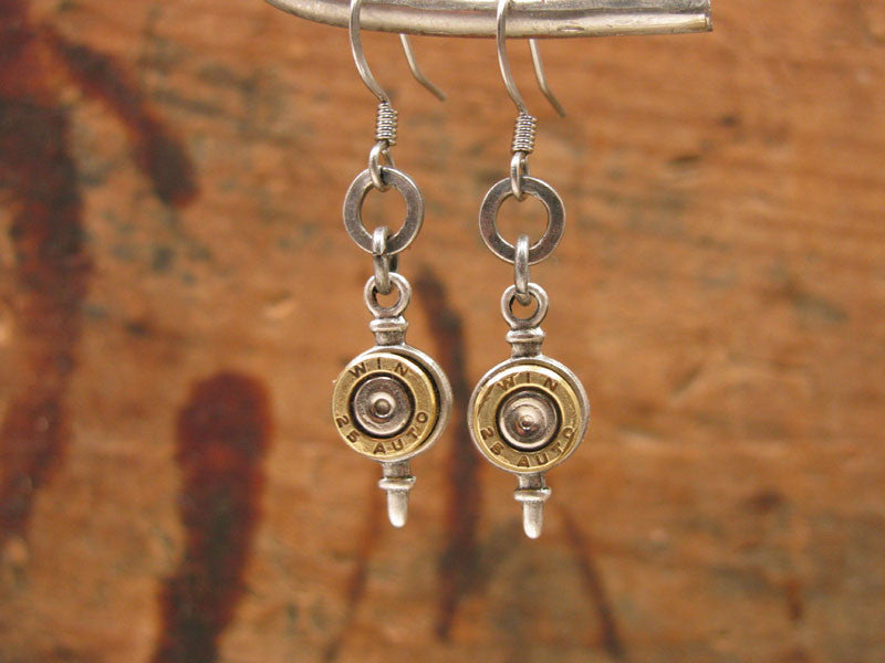 Petite Brass 25 Auto Bullet Casing Pendulum Style Dangle Earrings
