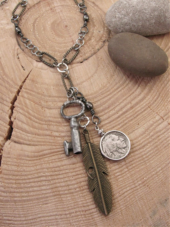 Unisex Buffalo Nickel, Key and Feather Necklace-SureShot Jewelry