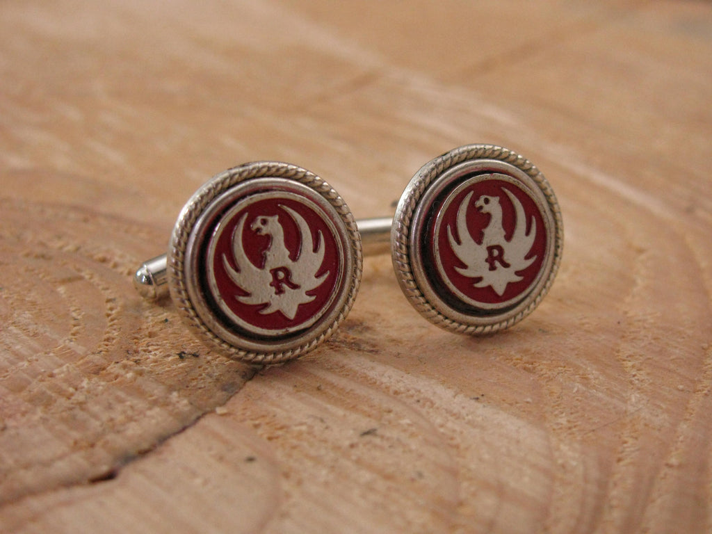 Genuine RUGER Red Grip Medallion Cuff Links-SureShot Jewelry