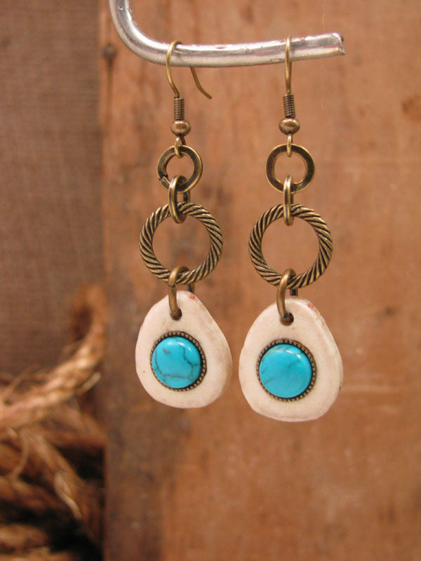 Deer Antler Slice w/Turquoise Cabachon Brass Dangles