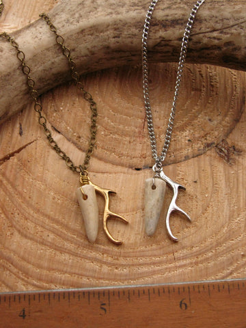 Tiny Tine Necklace - Antler Tip and Antler Charm Petite Necklace