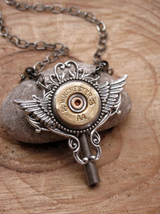 20 Gauge Shotshell Winged Winder Key Bullet Necklace - Steampunk Style-SureShot Jewelry