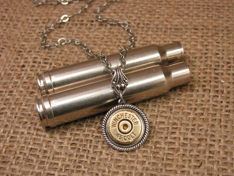 Brass 45 COLT Single Bullet Casing Pendant Silver Necklace