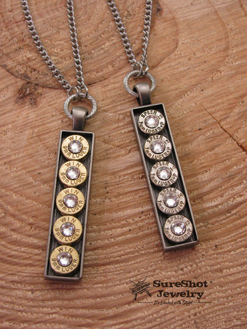 Long Rectangular Bar Pendant Bullet Necklace